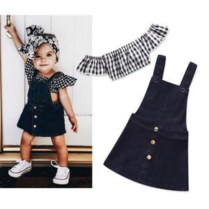 Nueva bebés de la manera niños de algodón de mezclilla Negro Trajes Faldas Y Hombro manga corta a rayas Tops muchachas de los sistemas Cuatro nudos