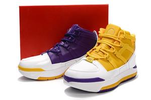 Увеличить Lebron 3 Lakers Золотисто-фиолетовые белые мужские баскетбольные кроссовки James 3 Mens Спортивный спортивный тренер с коробкой