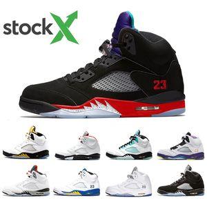 X Stock Top 3 scarpe da basket Rosso Fuoco 5 Mens alternativo Bel Isola Verde White Cement alternativo uva 5s degli uomini di sport scarpe da ginnastica di marca