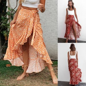 2020 Hot Sell New Summer Sexy Womens Ladies Print Bandage Slits Fishtail Skirt Beach Sunshine Dress Size S-XL