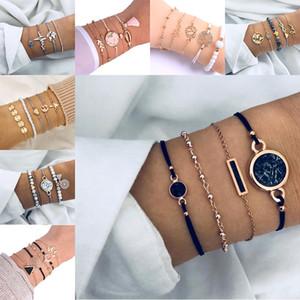 Infinity Mapa amor brazalete de múltiples capas de la joyería apilable pulsera de los nuevos pulsera de las mujeres de playa de verano joyería de moda