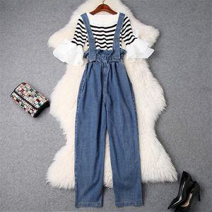 Yüksek Sokak Moda Kadınlar Casual 2 Adet Pantolon Set 2019 Bahar Yeni Parlama Kollu Çizgili Örme Üst + Tulumları kot Pantolon Setleri