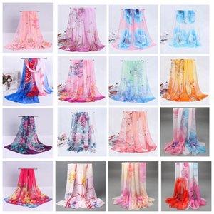 160 * 50 centímetros de impressão Mulheres Chiffon lenços Floral Toalha Lenço Macio Verão Xaile Outdoor cobertura biquíni Wraps Sunscreen LJJA3758