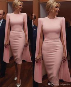 2020 Wrap Mücevher Boyun Kolsuz Diz Boyu Kadın Kokteyl Balo törenlerinde ile Gelin Damat Elbise Pembe Kılıf Anne