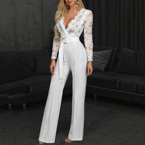 Bayanlar Yüksek Bel Seksi Dantel Jumpsuit Moda Kadınlar Çiçek Beyaz Jumpsuit sosyal macacao Uzun Kollu Uzun Pantolon yazdır
