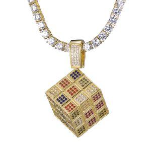 Collana di cristallo di Hip Hop Gioielli da uomo cubo del pendente della collana placcato oro di zircone di Uomo Ghiaccio Out Rubik