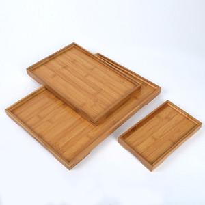 Dikdörtgen Doğal Bambu Servis Tepsi Çay Çatal Tepsileri Depolama Palet Meyve Tabağı Dekorasyon Gıda Ahşap Dikdörtgen 6 Boyutu BH2304 CY