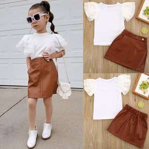Kids Girls Clothing Sets Solid White Fly Sleeve T -Shirts Top Pu Short Skirt 2pcs  Set Fashion Boutique Children Outfits Baby Clothes M2115