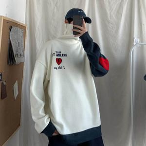 Erkek üst giyim Hombre İçin UYUK2019 Kış New College tarzı Casual Ters Turtleneck Love Letter Nakış Eşleştirme Renkler