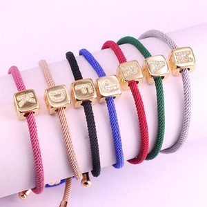 10Pcs New multicolor adjustable rope bracelet, Gold color pave CZ letter spacer beads bracelet for women wholesale