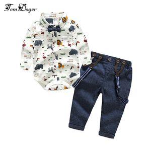 Tem Doger Boy Одежда Новорожденных Мальчиков Джентльмен Одежда Детская Рубашка С Длинным Рукавом + Комбинезон 2 шт. Наряды Bebes Набор Q190530