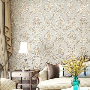 Cubiertas de pared moderno papel tapiz en relieve beige azul tradicional europeo vintage diseño victoriano damasco patrón texturizado 3D