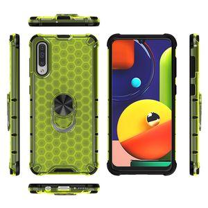 2 in 1 Honeycomb Armor Case for Samsung A50 Back Case Transparent Shockproof Slim Grip Back Case with Metal Magnetic Ring Holder