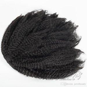 Бразильская Natural Black 4C Afro Kinky завитые Ponytail 120г хвоща кутикулы выравниванием Virgin Резинка кулиской человеческих волос Curly Ponytail