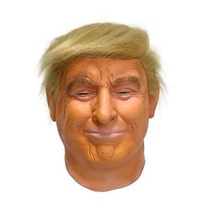 2019 Sıcak Satış Yüksek Kalite Kauçuk Maskesi Gerçekçi Kutu Hediye Parti Cadılar Bayramı Elbise Lateks Donald Trump T191010 Maske