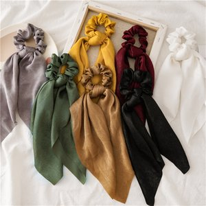7Color Women Solid Color Satin Hair Bow Hair Scrunchies Ring Ties Rubber Bands Scarf Ponytail Holder Girls Accessories