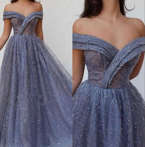 Elegant Off The Shoulder Lace Sequins A Line Prom Dresses Long 2020 Ruched Lace Beaded Floor Length Formal Party Prom Dresses