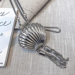 Forma Shell diseñador diseñador de lujo de la carpeta de la moneda monedero de la cadena del bolso de hombro de moda ilustraciones de la cremallera del patrón borlas Decorar Mini envío