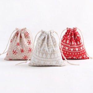 عيد الميلاد تخزين حقيبة الرباط القطن هدية حقيبة الكرتون الطباعة ندفة الثلج السنة الجديدة هدية عيد الميلاد الحلوى 3 الحجم