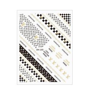 Manicure salão de beleza do prego adesivos Champagne Ouro unha adesivos 3D com adesivo padrão de luxo patch prego patch decorativos