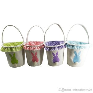Conejo de Pascua conejo de cola cesta cesta del huevo del conejito Cubos 2019 conejito bolsa de regalo festivo suministros 4 diseños