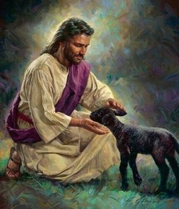a056#Nathan Greene GENTLE SHEPHERD Jesus Welcoming Black Lamb Home Decor HD Print Oil painting On Canvas Wall Art Picture 200110