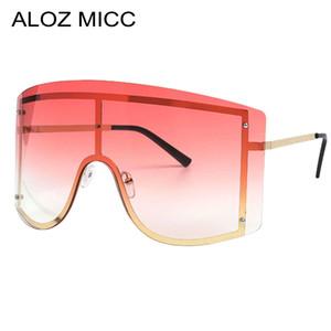 Aloz Micc Übergroße Randlose einteilige Sonnenbrille Frauen Mode Metall Große Rahmen Sonnenbrille Männer Winddichte Goggles oculos A134