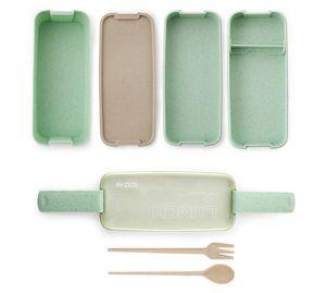Material sano portátil nuevo hogar 900ml caja de almuerzo de 3 capas de paja de trigo Bento cajas Microondas Vajilla Alimentación Contenedor de almacenamiento Foodbox
