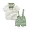 Erkek bebek Giyim Seti 2018 Yeni Yaz Bebek Erkek Giysileri Kravat Gömlek + Tulum 2 ADET Kıyafet Setleri Bebes Beyler Suit