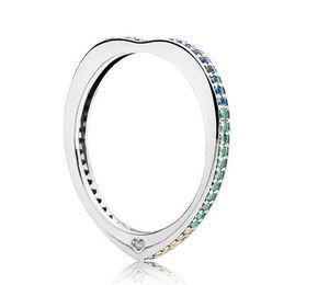 Women 925 Sterling Silver Sparkling Arcs Love Rings Set Original Gift Box for Pan-dora Rainbow CZ Diamond Luxury designer Ring W204