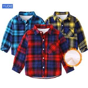 toddler baby Plaid Shirt Winter Warm Boy Shirts for Children Plaids Blouse little Girl Kids Plus velvet cotton Warm coat clothes