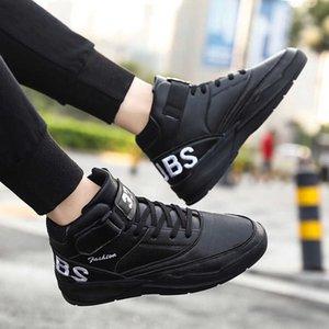 Pattini casuali di cuoio High Top scarpe da ginnastica bianche degli uomini scarpa da corsa fredda caviglia Libri resistente Tempo libero Lace-Up Sport Hook Loop