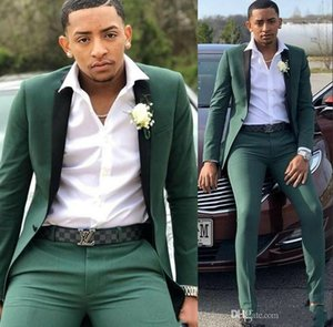 2020 New Hunter Green Men's Suits Slim Fit Two Pieces Wedding Suits One Button Formal Wedding Tuxedos Custom Made