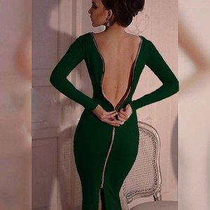 Fashion-neue Frauen Schwarz-Kleid-lange Hülsen-feste Hüllen-Abend-Partei-Kleider Voll Zipper Robe Sexy Pencil enges Kleid