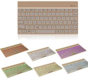 Universal en alliage d'aluminium sans fil Bluetooth 3.0 Clavier Ultra Thin 7 couleurs LED rétro-éclairé Clavier pour iPad Pro 12.9inch Classic Keyboard