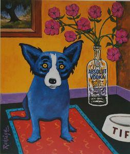 A070 # George Rodrigue Blue Dog Absolut Rodrigue Wohnkultur Handbemalte HD-Druck-Ölgemälde auf Leinwand-Wand-Kunst-Leinwandbilder 200113