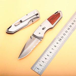 Caída Envío Supervivencia Cuchillo plegable 440C Hoja de satén semiabierta Madera + Mango de acero Cuchillos plegables de bolsillo EDC