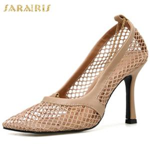 Sarairis neue reizvolle dünne hohe Absätze der Frauen Schuh-Sommer-Entwurfs-Quadrat Toe Air Mesh Sandalen Frau