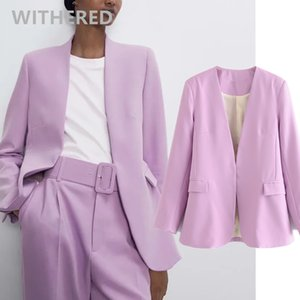 Withered england office lady simple Lavender casual blazer feminino blazer women mujer 2020 women blazers and jackets top