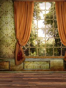 Fenêtre Rideau Chambre Château Vinyle Photographie Décors Plancher En Bois Photo Booth milieux Pour Accessoires de Studio