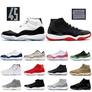 Nike Air Jordan retro Bred 11 11s Mens tênis de basquete Concord boné e um vestido Heiress Space Jam Homens Mulheres Trainers alta Sneakers XI Snakeskin Designer Shoes