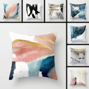 Cushion with Abstract Oil Painting Design, Cotton Linen Cushion for Baby, Home Decoration, Decorative Pillows for Sofa or Car Pillow Case