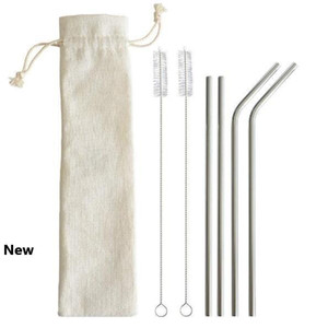 6шт / набор из нержавеющей стали соломка наборы Многоразовые трубочки Kit Bent Metal Silver соломинкой с Щетка для очистки CCA11223 120set