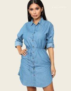Mavi Tek Breasted Mini Casual İnce Elbise Kadınlar Bahar Gömlek Modelleri Moda Denim