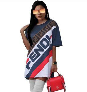 Sommermode Frauenkleidung gedruckt Brief T-Shirt Kleid Tees Sport casual Kleid