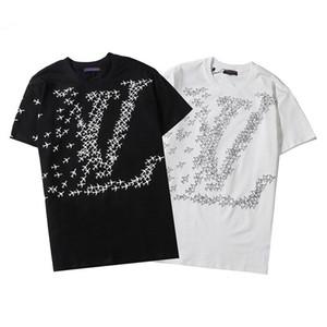 diseñador de manga corta camiseta negro de los hombres de moda y tops casuales de los hombres blancos europeos cuello redondo al por mayor