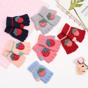New Baby Boys Girls Winter Warm Thicken Gloves Newborn Strawberry Mittens Kids Knitted Half Fingers Flip Gloves