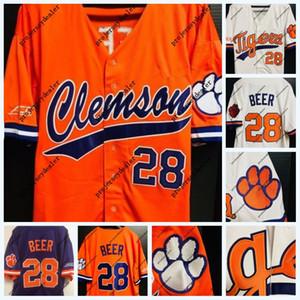 Mens Clemson Tigres 28 Seth Cerveja NCAA College Baseball Jersey Dupla Costura Nome e Número de Alta Quailty EM ESTOQUE Transporte Rápido