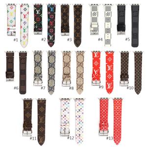 애플 시계 혼합 스타일을 패션 로고 명품 시계 밴드 스트랩 여러 스타일의 가죽 13 색 패션 액세서리 휴대용 교체