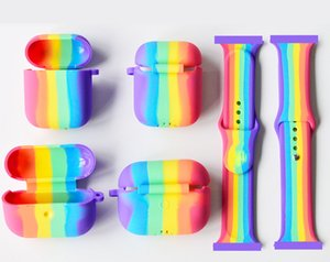 Rainbow Watch band Rainbow Earphone Case For Apple Watch 44mm 42mm 40mm 38mm For Airpods pro Case For Airpods Cover Thickened silicone cases